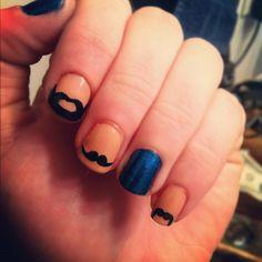 Mustache nails for #noshavenovember BRILLIANT!! i'm so doing these tonight!!
