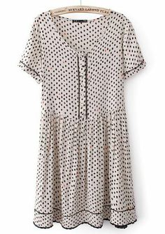Beige Short Sleeve Polka Dot Pleated Dress pictures