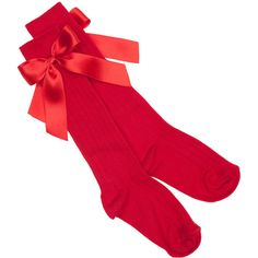 Apricot Satin Bow Sock Red ($9.78) ❤ liked on Polyvore featuring intimates, hosiery, socks, accessories, red socks and red hosiery
