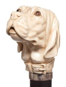 Decorative Arts, Continental:Other , A CARVED IVORY AND WOOD DOG CANE . Circa 1900. 39 inches