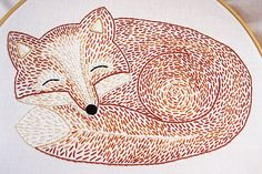 Sleepy Fox Hand Embroidery Pattern