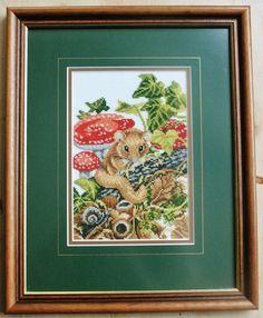 Complete framed cross stitch work Mouse Eva by MythodeaCrossStitch