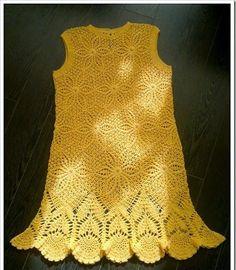Платье из круглых мотивов крючком. Желтое платье крючком со схемами