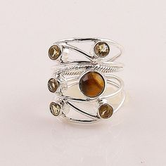 Citrine & Tigers Eye Sterling Silver Two Tone Ring – Keja Designs Jewelry