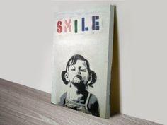 Banksy Stencil Art Little Girl Smile Print on Canvas Banksy Stencil, Banksy Wall Art, Banksy Graffiti, Graffiti Artwork, Stencil Art, Stencils, Banksy Canvas Prints, Large Canvas Prints, Canvas Pictures