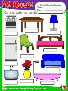 My house - Picture Dictionary 2 English Teaching Resources, English Worksheets For Kids, English Lessons For Kids, Spanish Lesson Plans, Spanish Lessons, Russian Language Lessons, Color Flashcards, Preschool Curriculum, English Vocabulary