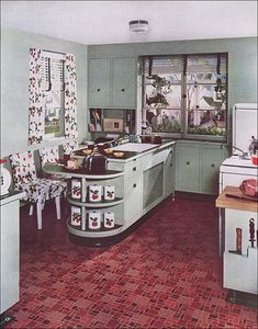 cool half round shelves and check out the built in knife storage in this 1940s Vintage Kitchen by Armstrong by American Vintage Home, via Flickr