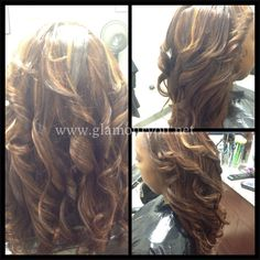 Traditional weave with virgin Brazilian straight hair custom colored cinnamon with golden highlights