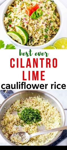 BEST Cilantro Lime Cauliflower Rice – Keto, Low Carb, Gluten-Free Looking for a low carb alternative to rice? This is the BEST Cilantro Lime Cauliflower Rice EVER! The perfect keto side dish and so easy to make. Cauliflower Side Dish, Cilantro Lime Cauliflower Rice, Cauliflower Recipes, Mashed Cauliflower, Healthy Recipes, Lunch Recipes, Keto Recipes, Vegetarian Recipes, Low Carb Side Dishes