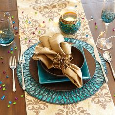 New Year's Eve - Blue. turquoise brown gold