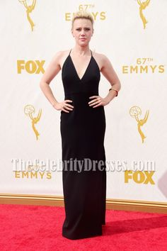 Kate McKinnon Black Deep V-neck Evening Prom Gown 67th Annual Emmy Awards - TheCelebrityDresses
