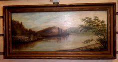 A wonderful antique Victorian oil on canvas water landscape