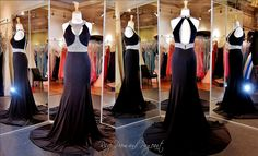 Black Jersey Prom Dress-Cut Outs-Beaded High Neck-Open Back - 115JC0545803780