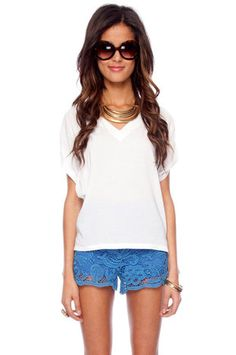 Front and Back V-Neck Top in White $43 at www.tobi.com