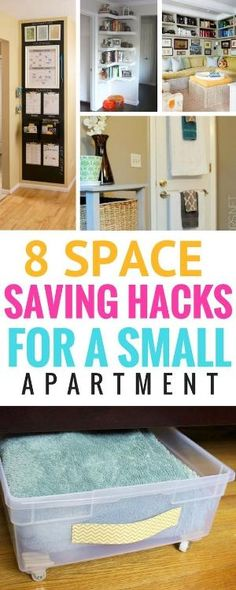 8 space-saving hacks for your small apartment – Learn how to make more space for small spaces with these great organizational hacks. Organizational tips for small spaces Small Apartment Bedrooms, Apartment Office, Small Living Rooms, Apartment Living, Apartment Ideas, Small Apartment Tips, Apartment Space Saving, Modern Living, Small Living Room Storage
