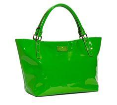 green patent tote