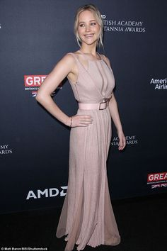 Statuesque: The actress wore a pink goddess dress that had cut outs on the chest area expo...