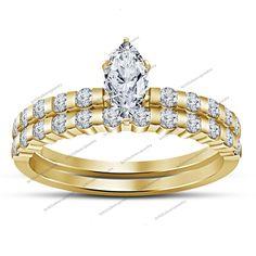 Wedding Bridal Ring Set Yellow Gold Fn Modern Marquise D/VVS1 Diamond 3-1/4 CT #BR925