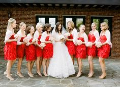 The colors i want for my brides maids, red dresses and gold shoes.