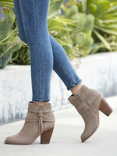Taupe suede ankle booties with fringe tassels and a chic block heel | Sole Society Rumi