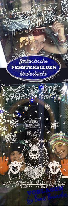 Vorlagen von Bine Brändle für fantastische Fensterbilder. So ist das Malen am Fenster mit dem Kreidemarker kinderleicht und das Ergebnis ist einfach genial! Bringe mit Hilfe der Vorlagen eine super tolle Deko auf deine Fensterscheiben. Ein Kranz, Ranken, Motive für Winter und Weihnachten, Bilder für Kinder, Eisbär, Vögel, Handlettering... die tollen Illustrationen ganz locker am Fenster ab pausen. Tipp: nimm es nicht zu genau, es sieht immer prima aus. Ein kreativer Spaß für die ganze…