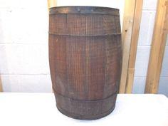 Antique-Rustic-Wooden-Nail-Keg-Barrel-Home-Decor