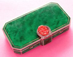 HM 1927 French Peyroula Sterling Silver Enamel Coral Marcasite Compact