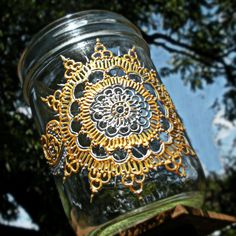 silver and gold mandala hand painted mason jar by OurFolkLife,