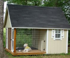 We have 6 dogs - I WANT THIS! What a great dog house. Can go inside if they want, or out on the porch if they want and still contained without having to be on a chain. Plus no mud when it rains.