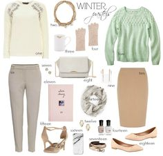 The mint and beige look is super cute