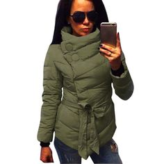 >> Click to Buy << 2017 Winter Jacket Women Cotton Coat High Collar With Belt Parkas For Women Winter 3 Colors Warm Outerwear Coats #Affiliate