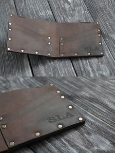 Chocolate Leather Riveted Wallet Riveted Bifold Wallet - Bifold Wallet Made From Hight Quality Italian Leather Dark Chocolate Crazy Horse Leather Big Pocket For Money Pocket For Cards Size Cm When Closed Free Shi Leather Wallet Pattern, Handmade Leather Wallet, Sewing Leather, Leather Rivets, Distressed Leather, Diy Leather Projects, Minimalist Leather Wallet, Leather Workshop, Leather Design