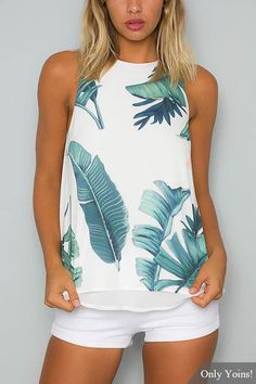 Who doesn& love a stylish singlet top? The high neck leaf print cami top is a perfect casual top featuring a sexy style with split back detailing at the back, high neckline. Style it with white shorts and a fedora hat for a fresh look. Casual Outfits, Summer Outfits, Cute Outfits, Fashion Outfits, Womens Fashion, Fashion Trends, Women's Summer Clothes, Latest Fashion, High Fashion