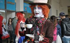 A cosplayer references Johnny Depp's Mad Hatter at the International Exhibition of Comics and Games in Naples, Italy