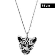 Lange Damenhalskette mit Leopard Anhänger Piercing, Diamond, Jewelry, Fashion, Fashion Jewelry, Neck Chain, Moda, Jewlery, Jewerly