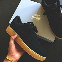 shoes nike air force 1 black suede gumbottom low top sneakers black sneakers More
