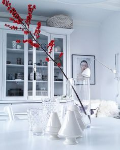 Simple but stylish winter decoration - red berry twig