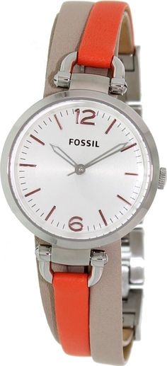 FOSSIL Georgia Three Hand Leather Watch White And Coral #ES3222