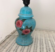 Shabby chic table lamp, decorative custom boho lamp, floral cottage chic, blue gypsy lamp, hand painted and re cycled, pink roses decor Shabby Chic Table Lamps, Shabby Chic Wall Decor, Shabby Chic Style, Rose Decor, Pretty Hands, Cottage Chic, Pink Roses, Blush Pink, Gypsy