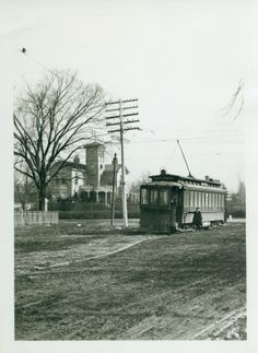 Henry Shaw house at Tower Grove and Magnolia Avenues with street car. (1906)