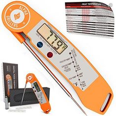 Instant Read BBQ Meat Thermometer For Grill And Cooking Sold In Elegant Gift Box Best Ultra Fast Digital Food Probe Includes Internal Meat Temperature Guide Spring Loaded By Alpha Grillers ** Learn more by visiting the image link.