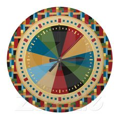 Retro Geometric Pattern: Colorful Clock for Modern Office