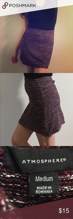 Atmosphere knit skirt size medium Atmosphere knit skirt • size medium • Frayed hem • Black/red/white • Asymmetrical: linger on the sides  • Stretchy waist band  • Very comfortable • Length 18.5 Atmosphere Skirts Mini