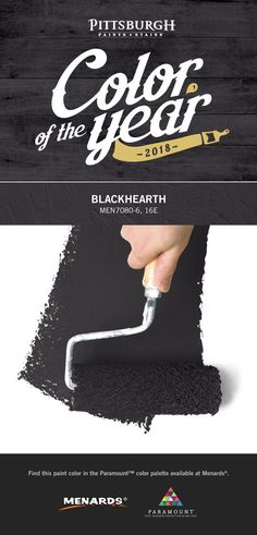 Blackhearth - a dark, statement-making, blue-black paint color - is our Pittsburgh Paints & Stains2018 Color of the Year. The elegance of this bold paint color makes it a versatile color that can pair with almost anything and transform a room to suit any mood. Find this hue and more 2018 color trends at your local Menards® retailer.