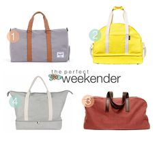 Weekending 1. The Novel Duffle by Herschel Supply Co. 2. The Weekender Bag by Kate Spade Saturday 3. The Weekender by Everlane 4. The Catalina by Lo & Sons Within the next few months, I'll...