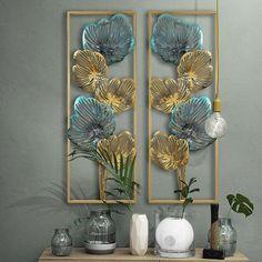 Bedroom wall art for decoration. Metal Art Decor, Panel Art, Flower Frame, Blue Flowers, Cool Designs, Wall Decor, House Design, Interior Design, Creative