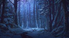 Winter Forest by andanguyen on DeviantArt Winter Forest, Snow Forest, Night Forest, Forest Art, Dark Forest, Forest Drawing, Forest Painting, Winter Painting, Forest Landscape