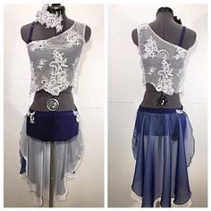"""gLAM by Adora - Costumes - """"If I Had a Boat""""; Custom Navy Blue and White Contemporary Dance Costume for Ellie"""