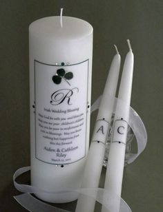 Irish Wedding Blessing Unity Candle Set with green clover! affordableelegancebridal.com