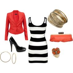 Stripes & Coral, created by justlizz.polyvore.com Live the dress!!!!